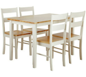 Collection Chicago Solid Wood Table & 4 Chairs - Two Tone