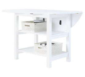 Fully assembled Folding White Extendable Table with Storage