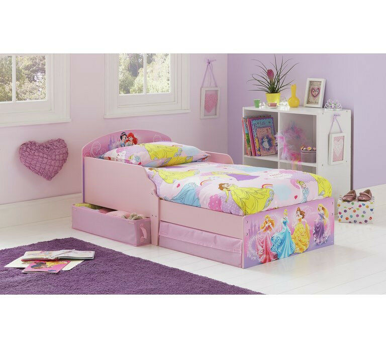 HOME Disney Princess Toddler Bed With Drawers Multicoloured