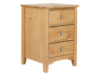 Grafton 3 Drw Bedside Chest Solid Pine-Oak Stain