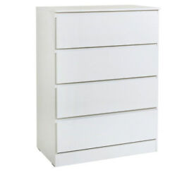 Hygena Larvik 4 Drawer Chest - White Gloss