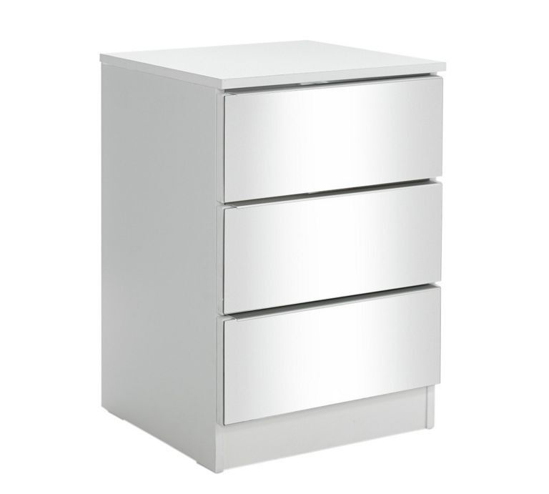Sandon 3 Drawer Bedside Chest - White and Mirrored