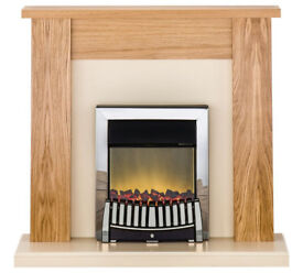 Adam New England 2kW Electric Fireplace Suite - Oak & Cream