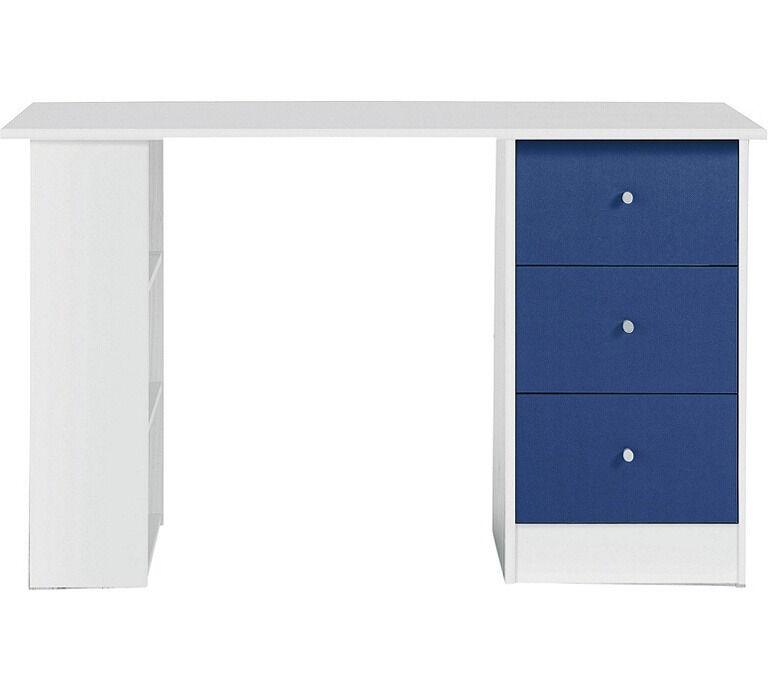 New Malibu 3 Drawer Desk - Blue on White