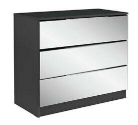 HOME Sandon - 3 Drawer Chest - Black and Mirrored