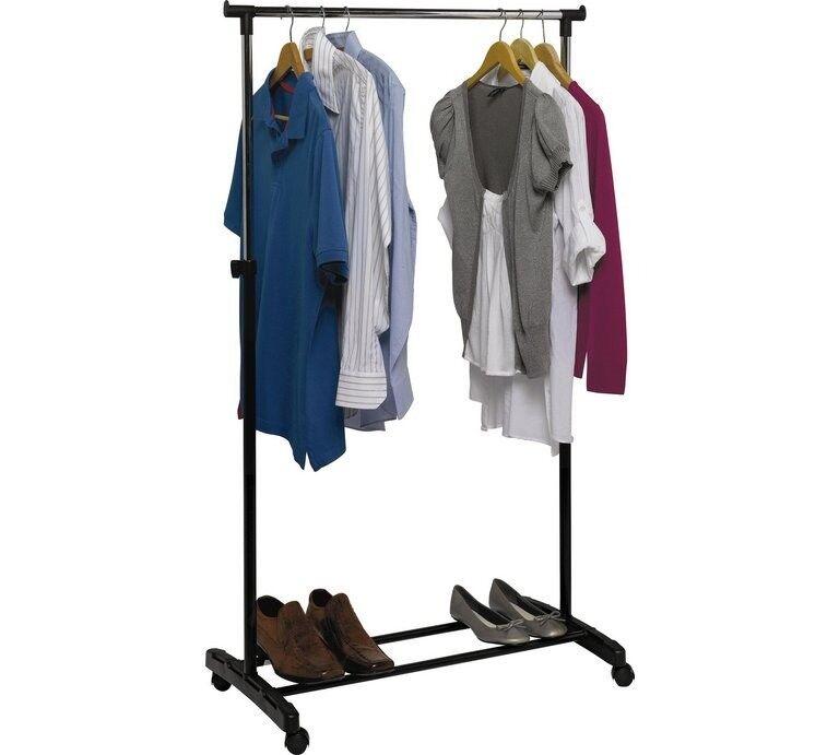 Adjustable Chrome Plated Clothes Tidy Rail - Black (Argos Home)