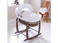Clair de Lune Dark Deluxe Rocking Moses Basket - White, also with stand
