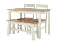 Fully assembled Chicago Dining Table, Bench & 2 Chairs.