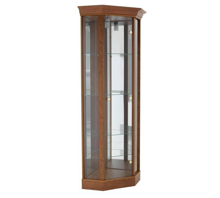 Corner Glass Display Cabinet - Dark Oak Effect