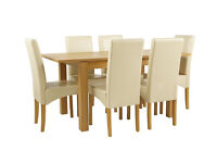 Collection Swanbourne Oak Veneer Ext Table & 6 Chairs-Cream