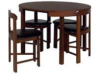 Hygena Alena Space Saving Walnut Circular Dining Table and 4 Chairs