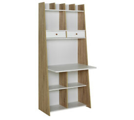 Auckland Wall Unit Desk - White and Oak Effect