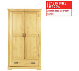 Mendoza 2 Door 1 Drawer Wardrobe - Pine
