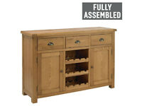 Fully assembled Heart of House Kent 2 Door 3 Drawer Sideboard with Wine Rack