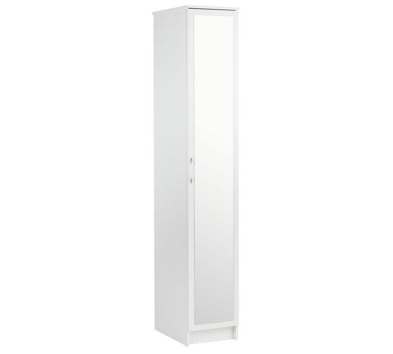 Collection Cheval Single Mirrored Wardrobe - White