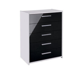 New Sywell 5 Drawer Chest - White and Black Gloss - Damaged