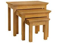 Kingsbury Nest of 3 Oak & Oak Veneer Tables
