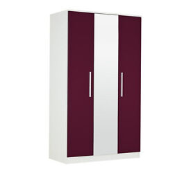 Collection Sparkle 3 Door Mirrored Wardrobe - Plum