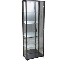2 Door Glass Display Cabinet - Black