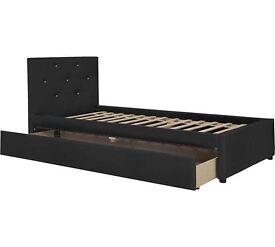 Hygena Imelda Single 1 Drawer Bed Frame - Black