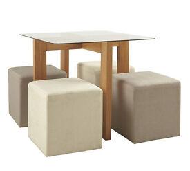 Vasso 90cm Glass Top Table & 4 Stools-Ash Veneer
