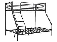 HOME Metal Triple Bunk Bed Frame - Black