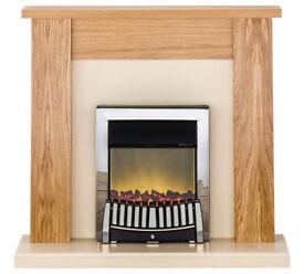 Adam New England 2kW Electric Fireplace Suite - Oak & Cream