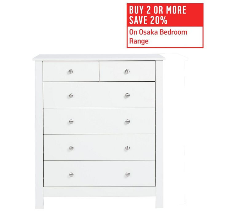 Collection Osaka 4+2 Drawer Chest - White