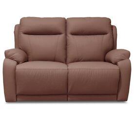 2 Seat Leather Manual Recliner Sofa - Tan