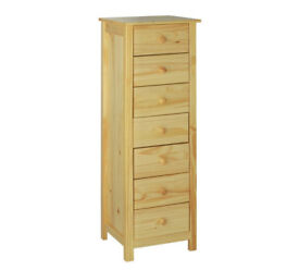 New Scandinavia 7 Drawer Narrow Chest - Pine