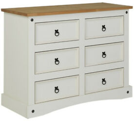 Puerto Rico 3 + 3 Drawer Chest - White & Pine
