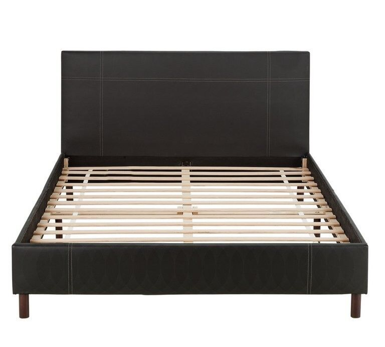 Chocolate brown double bed frame .