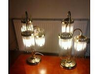 Gold metallic crystal lamps.