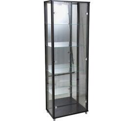 HOME Double Glass Door Display Cabinet - Black