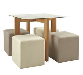 Vasso 90cm Glass Top Table & 4 Stools-Ash Veneer