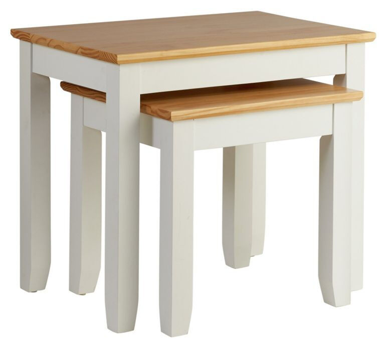 Fairbourne Nest of Two Tables - White