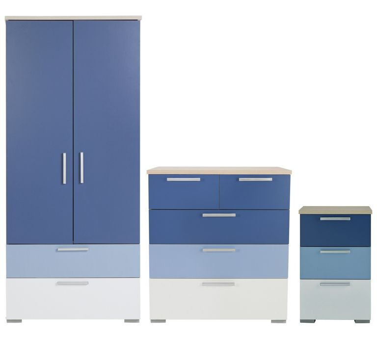 Billie 3 Piece 2 Door Wardrobe Set - Blue