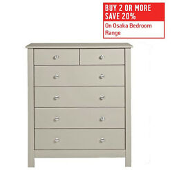 Collection Osaka 4+2 Drawer Chest - Soft Grey