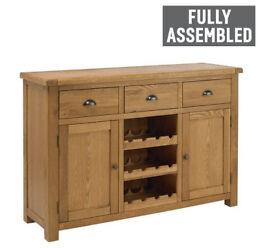Fully assembled Heart of House Kent Oak Veneer Large Sideboard & Wine Rack