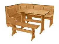 already built up Puerto Rico Nook Table 3 Corner Bench Set - Pine