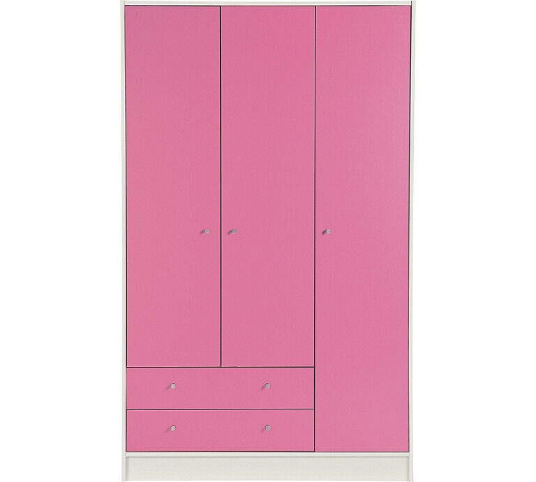 New Malibu 3 Door 2 Drawer Wardrobe - Pink on White