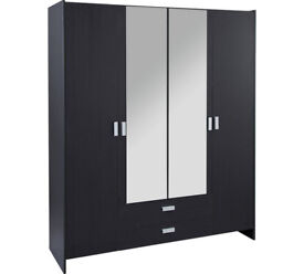New Capella 4 Door 2 Drawer Mirrored Wardrobe - Black
