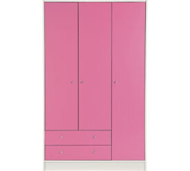 New Malibu 3 Door 2 Drawer Wardrobe - Pink on White