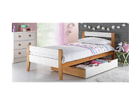 Two Tone Wooden Single Bed With Drawer - White and Pine