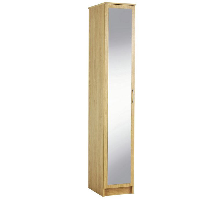 Cheval Single Mirrored Wardrobe - Oak Effect