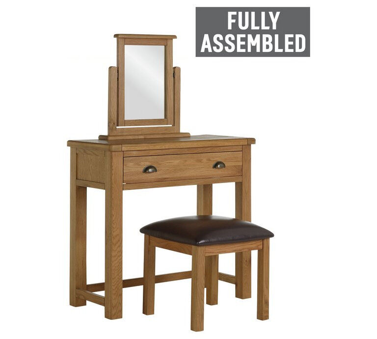 Heart of House Kent 1Drw Dressing Table, Stool, Mirror - Oak