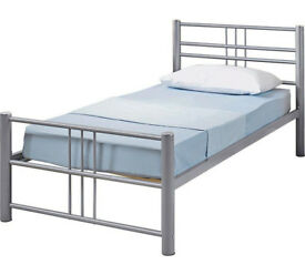 Atlas Metal Single Bed Frame - Silver
