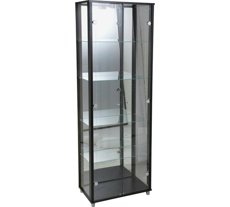 2 Door Glass Display Cabinet - Black