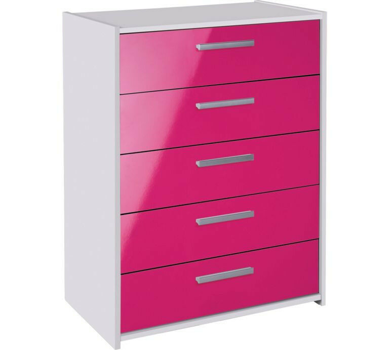 HOME New Sywell 5 Drawer Chest - White & Pink Gloss