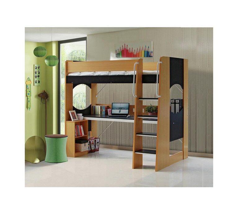 Large Desk Study High Sleeper Bed Frame - Beech
